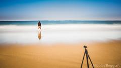 Cam & Man (Nicolas Reggiani) Tags: longexposure seascape france beach composition landscape sand alone sable ombre arcachon seul bassin bassindarcachon aquitaine latestedebuch poselongue lasalie