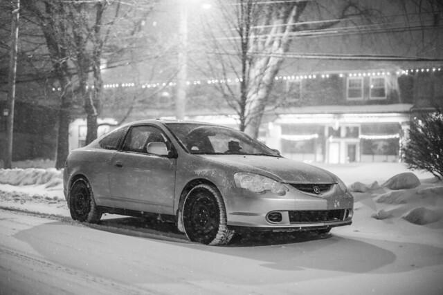 winter white black cars acura rsx2002
