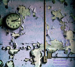 Time Cannot Be Bribed Nor Bargained With (DetroitDerek Photography ( ALL RIGHTS RESERVED )) Tags: school usa texture abandoned clock wall digital america canon eos rebel midwest peeling paint classroom time decay michigan interior urbandecay detroit gone layer inside xs february demolished bargain dilapidated allrightsreserved bribe urbex 313 motown motorcity 2015 nothdr