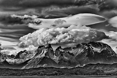 Clouds over Cuernos del Paine b&w (Daniel Schwabe) Tags: chile bw cloud patagonia mountain snow peak glacier torresdelpaine lenticularcloud