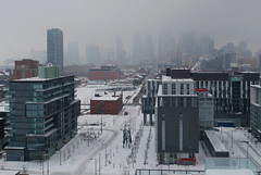 Canary District (Marcanadian) Tags: city winter snow toronto ontario canada west building sport architecture am construction downtown cityscape village waterfront district games don pan canary athletes lands development neighbourhood condominium 2015