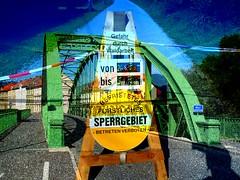 Leoben3 (krinkel) Tags: bridge collage sterreich doubleexposure picasa brcke mur multiexposure warnung verbot mehrfachbelichtung