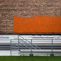 New York Architecture #280 (Ximo Michavila) Tags: nyc urban usa newyork abstract grass metal wall architecture square paint bricks 11 minimal handrail concept buiding archidose archdaily archiref ximomichavila