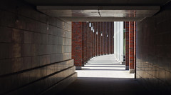 Pedestrian Underpass (AnyMotion) Tags: travel light shadow architecture germany underpass licht reisen bricks hamburg tunnel architektur pillars schatten 6d säulen unterführung 2016 alsterwanderweg anymotion backsteine hamburgimpressions citytrail canoneos6d