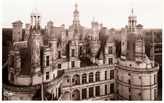 Chteau de Chambord - Upper Levels (pepandtim) Tags: park old red chimney france building london tower abandoned beauty wall skyline facade john french francis early wings university king evelyn spirals timber postcard bricks towers columns steps royal william symmetry deer nostalgia henry staircase valley revolution nostalgic restoration chambord chateau holloway loire staircases renaissance founders furnishings roofscape fireplaces crossland expense 1519 1547 combier 1782