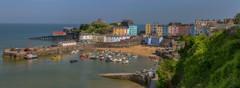 Tenby, S.Wales (NoVice87) Tags: sea sun wales coast harbour bluesky pastels tenby pembrokshire colouredhouses lifeboatstation