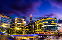 London Citylights (dtapkir) Tags: city uk longexposure blue sunset summer england sky reflection building london water colors skyline architecture clouds lights moving movement nikon cityscape riverside outdoor d750 shard 1835 nikond750