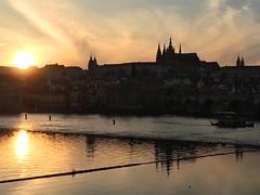 Vltava River, Prague (Arran Bee) Tags: travel sunset sun reflection castle water silhouette reflections river evening europe republic czech prague plus vltava iphone 6s