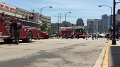 Jockeying into position for the demonstration. (Chicago Rail Head) Tags: fireapparatus oldnew firetrucks ondisplay snokels demonstrations 2016firemuster 511club firemuseumofgreaterchicago