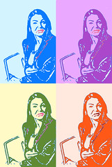 2x2 pop-girl (Photo By Pisminetska) Tags: blue orange green london girl photoshop rainbow model purple popart fourbyfour