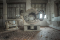 """"""" Clean consciences......"""" (Giovanni Cedronella) Tags: windows light abandoned architecture shadows decay machine dust washing urbex"""