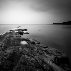 Kimmeridge B&W (nhr rally) Tags: canon700d canon1022 longexposure 10stop rocks seascape dorset mono