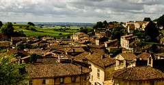 the rooftops of St Emilion (PDKImages) Tags: old windows france church monochrome beauty abbey architecture ginger curves bordeaux shutters balconies stemillion brantome