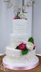 ruffles wedding cake (RebeccaSutterby) Tags: pink wedding cake ruffles monogram sugar gumpaste 3tier ranunculous