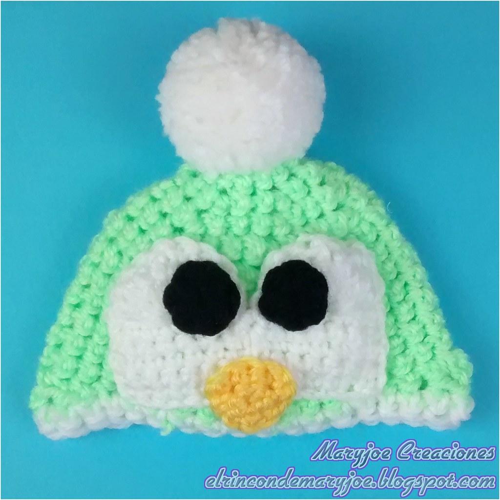 729583d4d9544 Ganchillo Gorro Pingüino Verde con Marca de Agua (maryjoecraft) Tags  baby  hat penguin