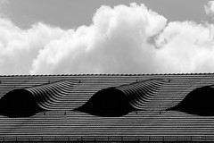 Cloudy Arches (domenicocarusophoto) Tags: windows roof sky urban blackandwhite white abstract black building berlin texture lines architecture clouds contrast germany shadows cloudy geometry top traditional curves shapes arches half traveling contrasty splitted