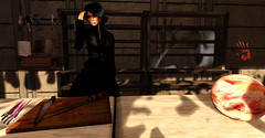 I believe the maid is mad... (Teddi Beres) Tags: life kitchen mystery blood board ghost knife meat sl story cutting second mad maid apparition bluff thriller suspense cleaver blacklichen