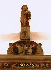 rslev, Sklskr, Sjlland, kirke, monument to Alexander Rabe Von Papenheim, 1626, detail (groenling) Tags: monument stone denmark memorial coatofarms stonecarving carving dk cherub danmark effigy 1626 kirke putto sjlland sklskr rslev mmiia papenheim