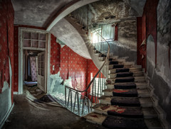 The Red Stairway And The Pink Hallway (hpd-fotografy) Tags: old red urban abandoned vintage germany lost scary decay eerie haunted spooky doctor forgotten urbanexploration rotten derelict ultrawide urbex villaanna