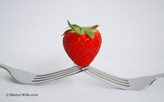 Week 24-2016 (mpw1421) Tags: red summer stilllife food white green fruit strawberry nikon stainlesssteel whitebackground balance forks d60 unlimitedphotos wk2452 522016edition 522016