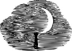 Harvest Moon Vector (sjrankin) Tags: illustration handle book edited library historic sickle grayscale harvestmoon vector britishlibrary scythe vectorized 23june2016