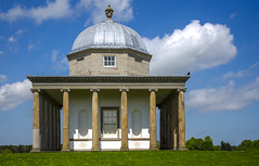 The Temple of Minerva (Preston Ashton) Tags: park door blue roof sky building green window grass architecture clouds temple outdoor lawn rotunda pillars minerva hardwick templeofminerva prestonashton