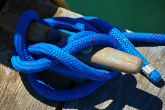 Tied Off, Leland, MI, 2008 (Tom Powell) Tags: nikond40 leland michigan leelanau nautical blue shadows 2008 patterns texture