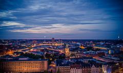 Skyline Sunset (Henrik Schulze) Tags: leica blue light sunset sky panorama yellow skyline buildings germany hannover hour bluehour 24mm m240