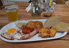 breakfast plate (Gabriel Kay) Tags: food beer breakfast bacon yummy weekend egg sausage saturday plate ham delicious meal brunch hoegaarden wheatbeer