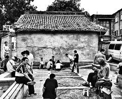 the locals are having a relaxing time (csalirod) Tags: china summer hot shopping day locals traditional beijing relaxing chess social games hobby entertainment local bnw interaction iphone cohesion