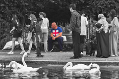 Post Brexit (tatzlum.photo) Tags: park street lake colour london monochrome st 50mm george swan muslim hyde selected arab hydepark stgeorge serpentine falg selectedcolour