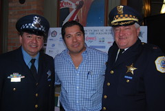 Officer Tony Mejia and Commander Eugene Roy, w/Connie's Manager (artistmac) Tags: morning blue sabrina chicago breakfast joseph drive illinois al king martin police tony il pizza solidarity commander gorman soldierfield connies chicagopolice mejia garza may5 wools 2013 9thdistrict loughney stjudesmarch