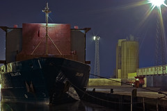 Coal Dock (ColinParte) Tags: industry night docks harbor nightshot harbour crane ships belfast cargo silo cranes coal shipping jolanta