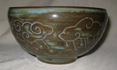 Storm bowl #2, puffy clouds (mikkashar) Tags: ceramic spiral carved waterdrop crafts bowl pottery lightning cloudrain darkstoneware madebymikkashar