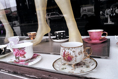 Tip Toe Through the Teacups (Georgie_grrl) Tags: friends toronto ontario feet mannequins legs photographers social pentaxk1000 teacups windowdisplay outing tiptoe rikenon12828mm torontophotowalks topwbdg teasandtoes nosugarformeilljusthaveapinkytoe