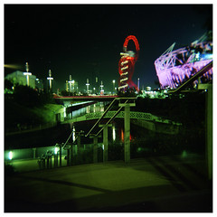 On The Waterfront (Matt Brown esq) Tags: london 120 film night mediumformat square holga lomo lomography crossprocessed closed fuji stadium empty slide scan late fujichrome olympicpark neg olympicgames london2012 provia100frdpiii