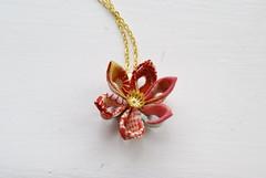 Kimono print necklace (cuttlefishlove) Tags: flower japanese necklace origami handmade jewelry jewellery kimono necklaces kanzashi