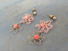 Tiny pink and silver flower earrings (cindycreativecrochet) Tags: pink flower wire post handmade unique oneofakind crochet jewelry canadian tiny earrings saskatchewan silvertone cindyscreativecrochet