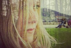 Wind (Caroline M Bailey) Tags: portrait girl face forest hair exposure wind doubleexposure overlay multiple