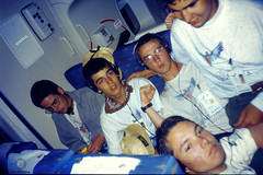 During the flight (JF Sebastian) Tags: portrait music plane friend group earphones scannedslide rutaquetzal digitalized morethan100visits rutaquetzal1996 oldfilmautomaticcamera