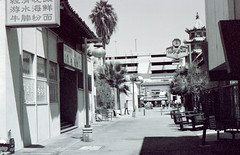 Chinatown Back Street Expired Kodak Bw400cn (Digital Film Photography) Tags: california street white black building film buildings photography restaurant los alley nikon chinatown angeles kodak historic and louie hop expired n90s bw400cn