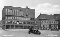 The Town Hall in Halmstad, Halland, Sweden (Swedish National Heritage Board) Tags: theswedishnationalheritageboard riksantikvarieämbetet buildings car automobile road volvo vintage classic auto classiccar swedish schwedish yngveahlbom halmstad halland postcard vykort