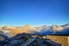 The Moonset on the Gornergrat Hilltop (jerryjcwu) Tags: travel summer mountains nature sunrise switzerland scenery europe photojournalism glacier gornergrat matterhorn moonset d600 nikonafsnikkor1835mmf3545ged