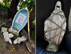 The Abduction of Mary (Violentz) Tags: statue mary rope tape angels stolen shovel virginmary abduction ransomnote kidnapped holymother