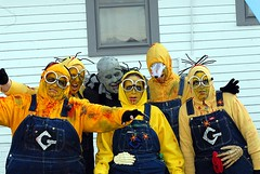 The exterminators must have turned at the same time. (kennethkonica) Tags: blue usa white men yellow america women midwest zombie indianapolis indiana females zombies hoosiers biboveralls zombiewalk broadripplezombiewalk