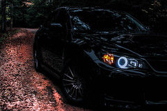 WRX cruise in the forest (Mayfire1) Tags: new autumn england black fall crystal maine halo headlights led subaru pearl impreza wrx sti 2009 halos 2012 2010 2014 obsidian silica 2015 2011 nfr 2013