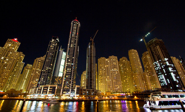 Dubai Marina Skyline At Night, Dubai