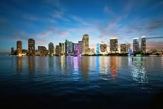 Miami Skyline (Sky Noir) Tags: sunset usa skyline reflections bay coast twilight cityscape waterfront florida miami atlantic citylights gateway fl bluehour southflorida miamidade southeastern magiccity portcity gatewaytotheamericas capitaloflatinamerica