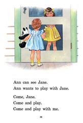 Three Of Us - page 36 (Al Q) Tags: bear door guy girl children book three us panda play jane reader 1954 screen ann bond primer hurford