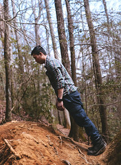 Center of Gravity (Aung || Photography) Tags: tree film vertical horizontal vintage woods falling dirt